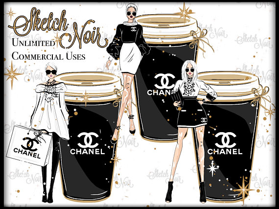 Chanel clipart name COFFEE clipart planner SET COFFEE