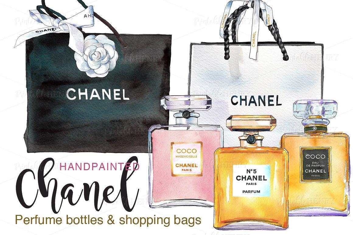 Bottle clipart chanel Perfume shopping Creative Market bags