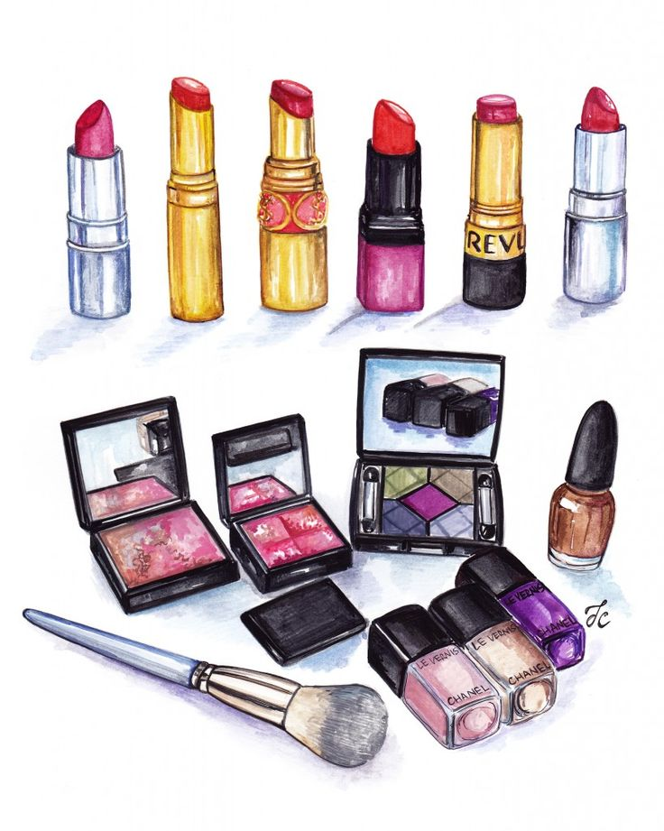 Drawn still life kid Makeup luxury polishes eyeshadows 25+