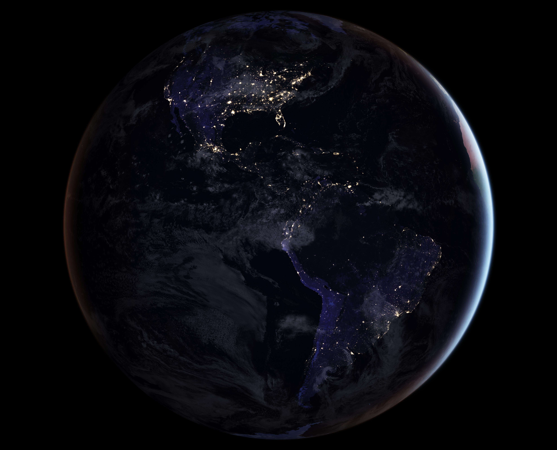 Drawn earth NASA showing South America image