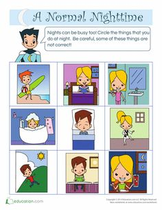 Display clipart daytime activity Worksheets: Daytime A Normal Nighttime