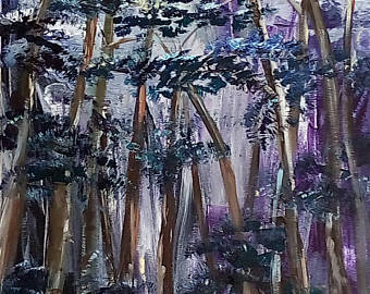 Changing To Night  clipart night forest Painting Trees acrylic in 40x80