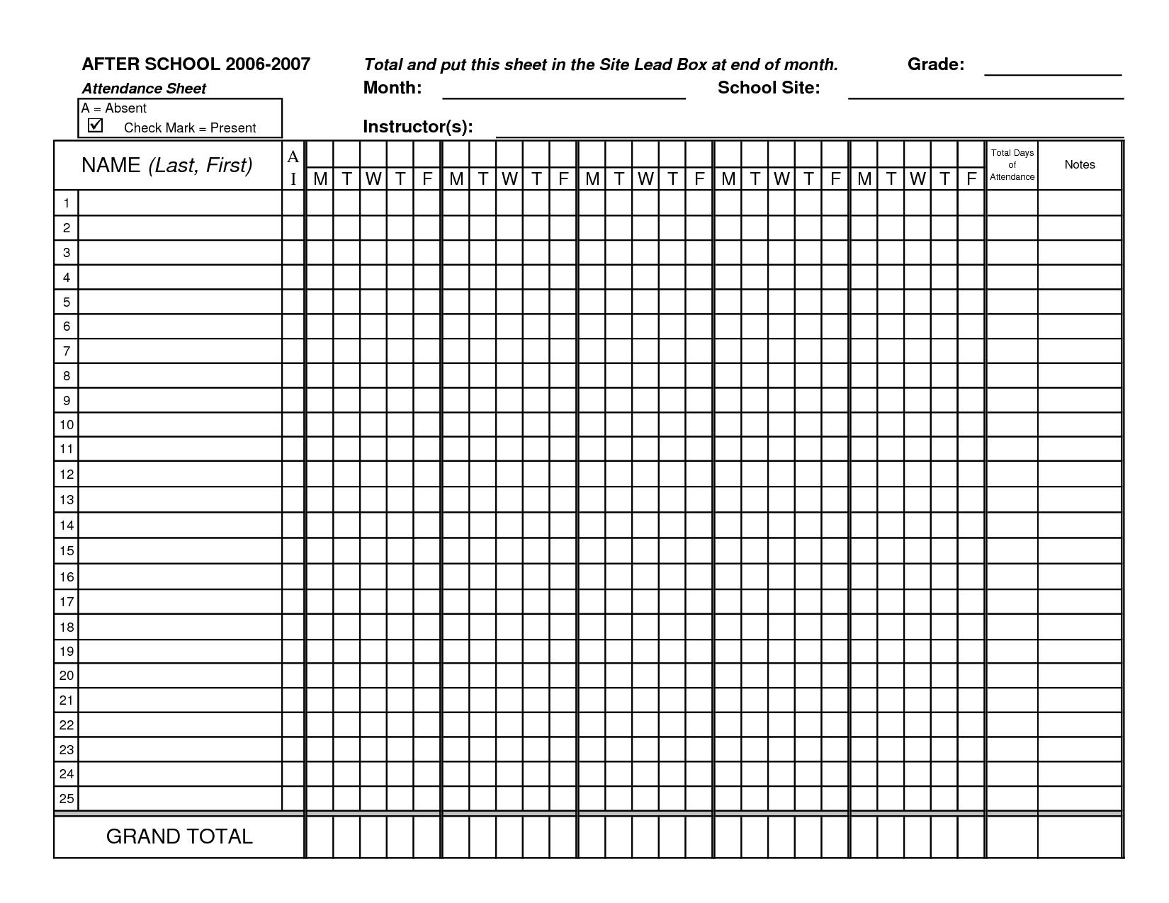 Check clipart attendance list Sheets Class TemplateAttendance Sheets Attendance