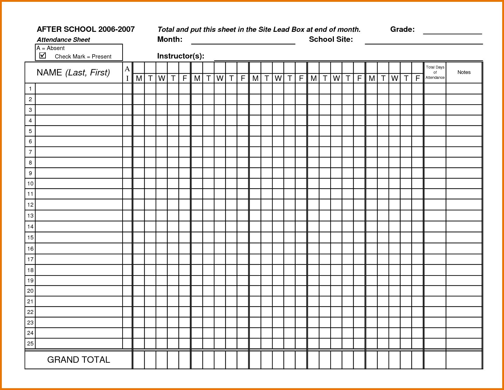 Check clipart attendance list Attendance stub pay Sheet word