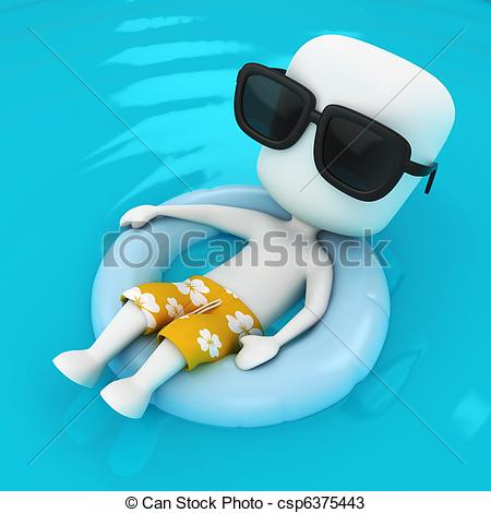 Check clipart relaxed person Flotation 3D  of a