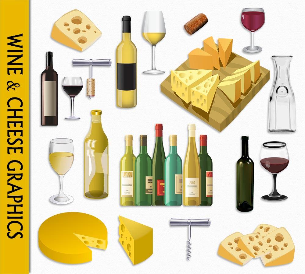 Cheese clipart wine glass & Wine  digital file