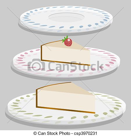Cheesecake clipart plain Strawberry Plate Vector csp3970231