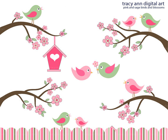 Brds clipart branch  Pink Blossom by by