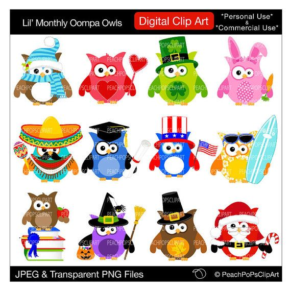 Owl clipart meeting 132 Digital Oompa holiday Owls