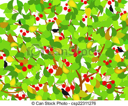 Cherry Tree clipart berry Of leafs of Stock Illustrations
