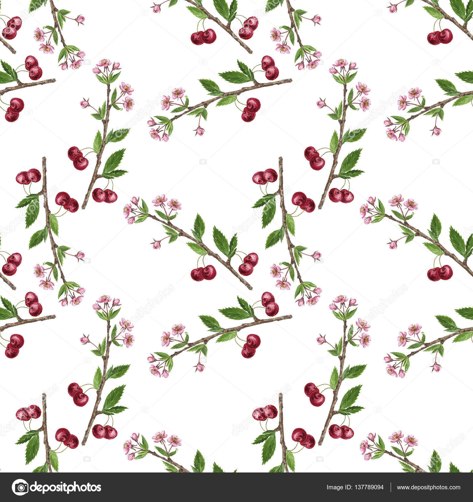 Cherry Tree clipart berry Photo  tree leaves Seamless