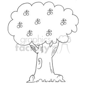 Cherry Tree clipart black and white Art and White Black