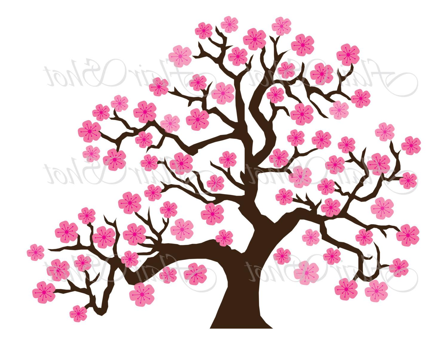Cherry Tree clipart flowering tree Vectors and blossom falling Vector
