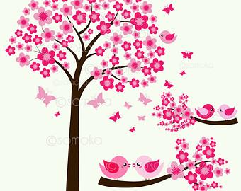 Cherry Tree clipart sakura Sitting Cute clipart Bird On