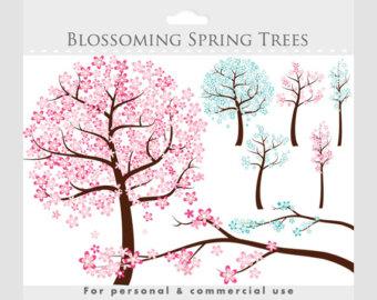 Cherry Tree clipart spring bird Tree art Tree sweet whimsical