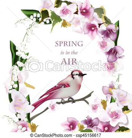 Cherry Tree clipart spring bird Bird Vector for of branch