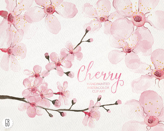 Cherry Tree clipart watercolor Cherry blossom cherry blossom hand