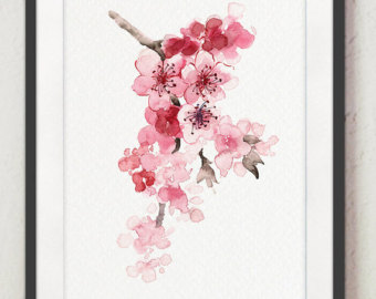 Cherry Tree clipart watercolor Set Cherry Decor Home Pink