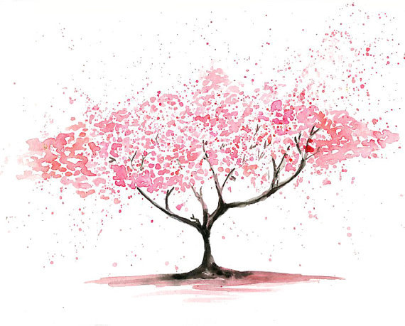 Cherry Tree clipart watercolor BonsaiLandscape Tree and Pin Posters