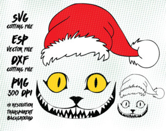 Cheshire Cat clipart christmas Hat hat Art Images Digital
