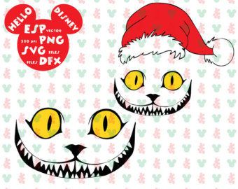 Cheshire Cat clipart christmas Clipart hat Cut files Christmas
