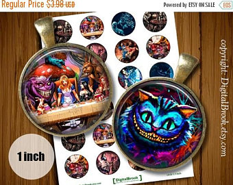 Cheshire Cat clipart gothic Printable 1inch Circles in bottle