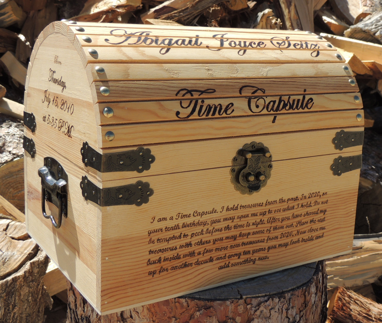 Chest clipart time capsule / Custom Wood Keepsake Burned