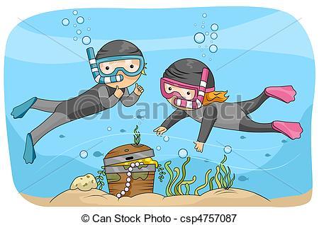 Chest clipart underwate Underwater Illustration of Illustration Treasure