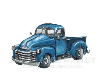 Chevrolet clipart antique truck Print Vintage 8x10