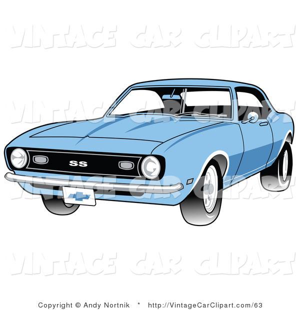 Blue Car clipart car light  of Front Side 1968