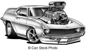 Chevrolet clipart muscle car With B&W Stock Blower royalty