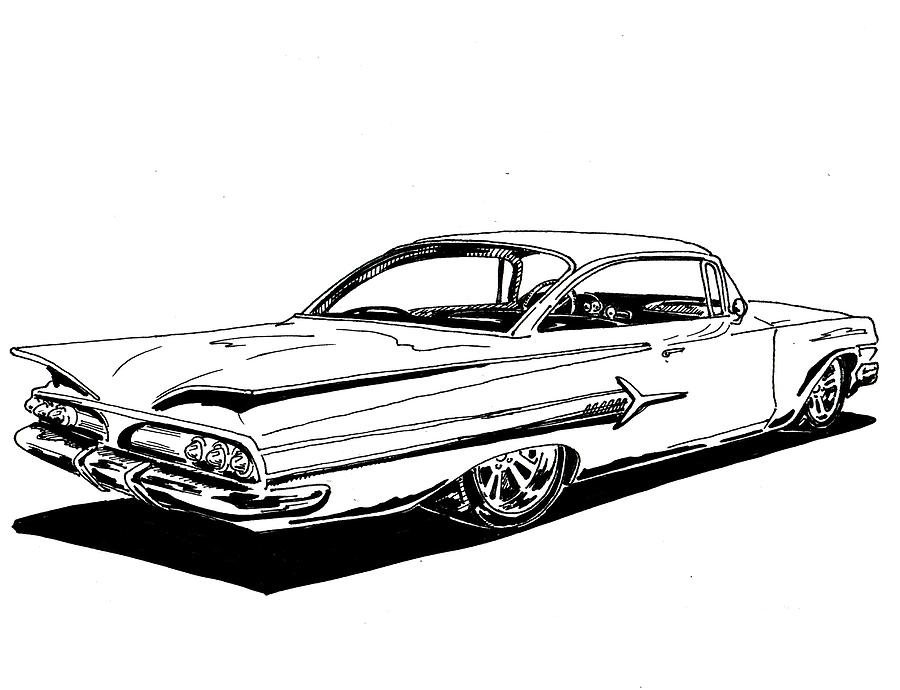 Chevrolet Impala clipart Fine 1960 Drawing by Chevrolet