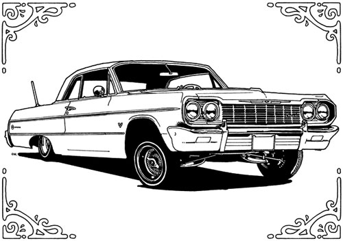 Drawn vehicle impala Impala Coloring Chevy Lowrider Impala