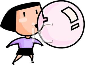 Chewing Gum clipart cartoon Bubble Blowing Woman A clipart