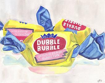 Chewing Gum clipart dubble bubble Etsy Illustration Watercolor Watercolor Art