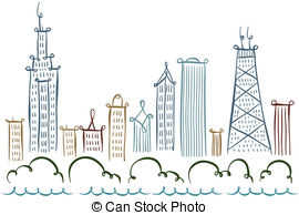 Chicago clipart  054 Skyline the Images
