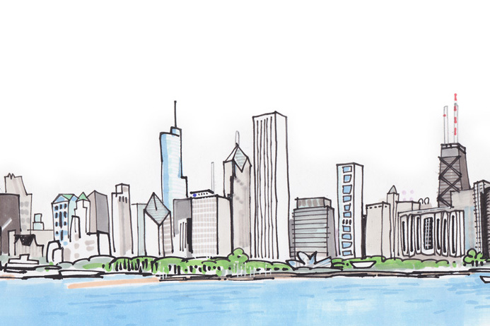 Drawn skyline famous Art Chicago Skyline Inspiration Drawing