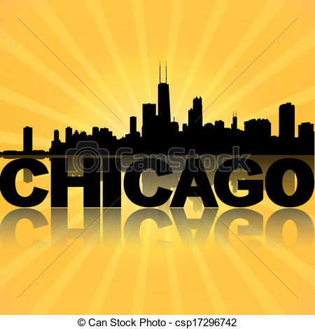 Chicago clipart  reflected Drawing sunburst csp17296742