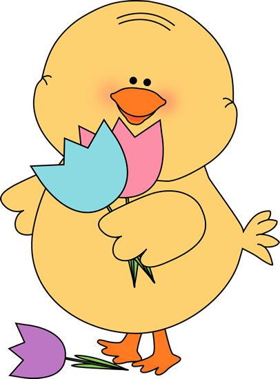 Chicken clipart spring chick Chick Art Chick Easter Tulips