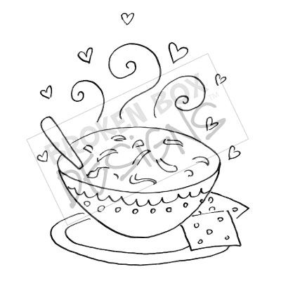 Chicken Soup clipart black and white Stamp) Digital Chicken Soup Stamp