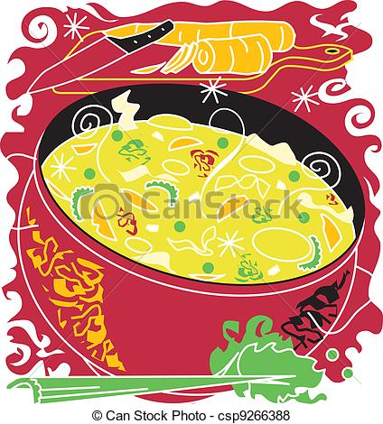 Chicken Soup clipart side dish Chicken Soup Vector csp9266388 Chicken