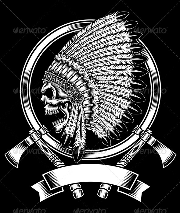 Chief clipart apache indian  Chief With Skull Native