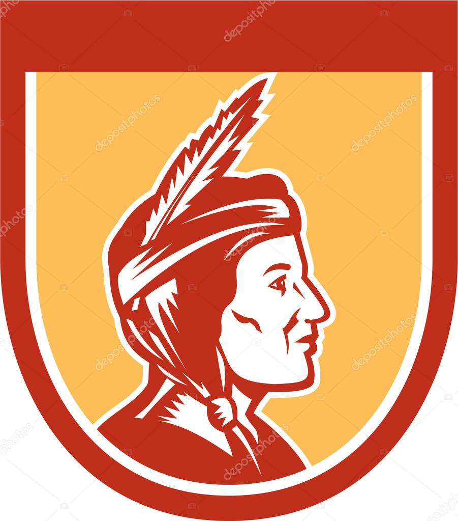 Chief clipart shield Indian Retro Shield — American
