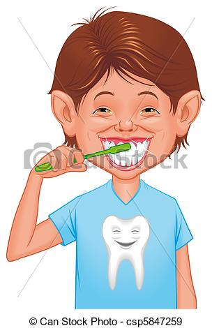 Child clipart cleaning tooth Csp5847259  Illustration Stock Child