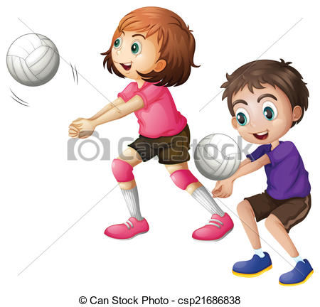 Child clipart volleyball  the art playing Clipart