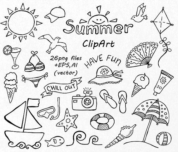 Chill clipart black and white White Clip Summer Summer Black