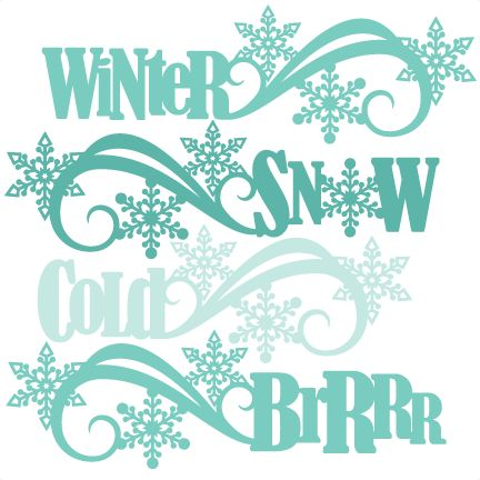 Chilling clipart winter word Files SVG Winter scrapbook for