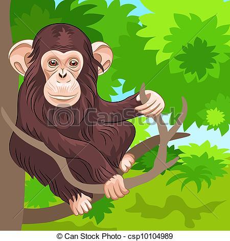 Chimpanzee clipart moneky Of vector Vector in vector