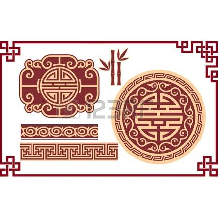 Oriental clipart chinese culture Corner Set of borders Vector