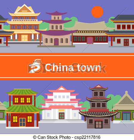 China Town clipart cartoon China of town Vector tileable